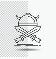 battle emblem viking warrior swords line icon on vector image