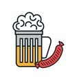 beer and sausage isolated icon vector image