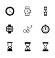 black clock icon set vector image vector image