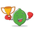 boxing winner lime mascot cartoon style vector image vector image