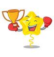 boxing winner star balloon on wooden cartoon table vector image