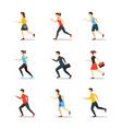 cartoon characters runners man and woman people vector image vector image