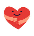 cartoon hugged heart love yourself concept red vector image