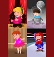 children dressing up as professionals vector image vector image