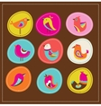 collection of cute decorative birds greeting card vector image vector image