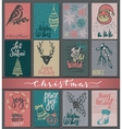 Collection of nine Christmas cards with hand drawn vector image vector image