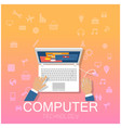 computer technology hand working on laptop backgro vector image vector image