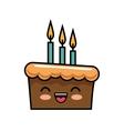 cute kawaii cake chocolate candles happy vector image vector image