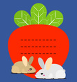 Cute little bunny and carrots recipe note vector image