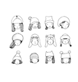 Different faces People in winter hats Hand vector image vector image