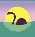 dinosaur in water kawaii style vector image