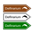 Direction sign dolphinarium vector image vector image