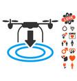 drone landing icon with love bonus vector image vector image