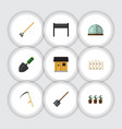 flat icon farm set of shovel stabling tool and vector image