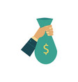 flat man hand holding money bag vector image