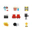 flat set of movie theater and cinema icons vector image