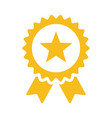 gold star quality badge with ribbon vector image