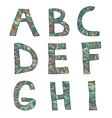 Hand drawn artistic font from lines letters A-I vector image vector image