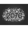 Happy new year doodle chalk card vector image