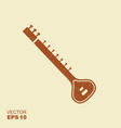 indian sitar musical instrument flat icon with vector image