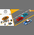 isometric auto repair service concept vector image