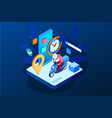 isometric fast and free delivery man ride vector image vector image