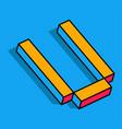 isometric u letter u 3d logo vector image