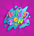kids zone cartoon logo colorful bubble vector image vector image