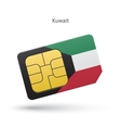 Kuwait mobile phone sim card with flag vector image vector image