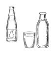 Milk and pear juice drinks sketches vector image