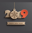 modern happy new year 2019 paper design vector image