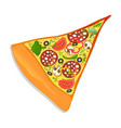 pepperoni pizza slice isolated icon vector image vector image