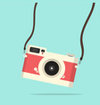 red vintage camera hanging flat style vector image vector image