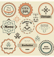 retro labels and floral design elements vector image vector image