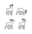 set deers line icons vector image vector image