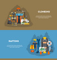 set flat banner equipment for climbing and rafting vector image vector image