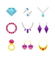 Set of cartoon jewelry accessories vector image vector image
