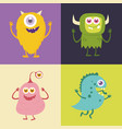 set of cute monster cartoon character 001 vector image vector image