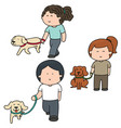 set of people and dog vector image vector image