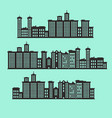 set of silhouette buildings vector image