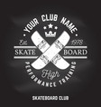 skateboard club sign on the chalkboard vector image vector image