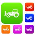 skid steer loader set color collection vector image vector image