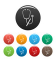 stethoscope pen icons set color vector image vector image