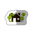 sticker colorful house and trees on the sidewalk vector image vector image