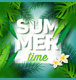 summer time holiday typographic on palm leaves vector image vector image