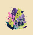 thank you card spring greeting card with plants vector image vector image