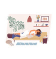 tired and happy mom with newborn baby sleeping vector image