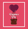 valentines day card airballoon heart basket vector image vector image