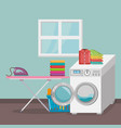 wash machine with laundry service icons vector image vector image