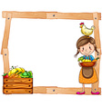 Wooden frame with a young vendor vector image